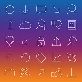 Set universal linear icons, vector illustration.