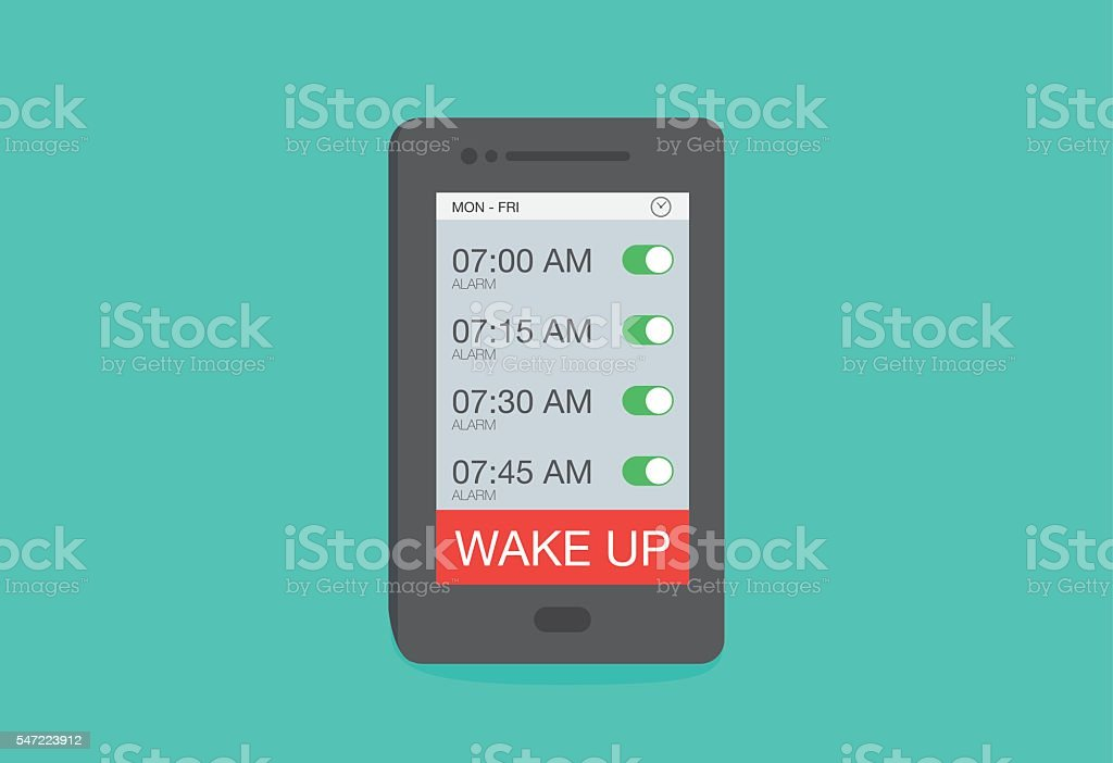 Set up multiple alarm on smart phone vector art illustration