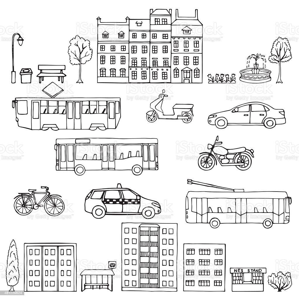 Set urban transportation hand drawn vector art illustration