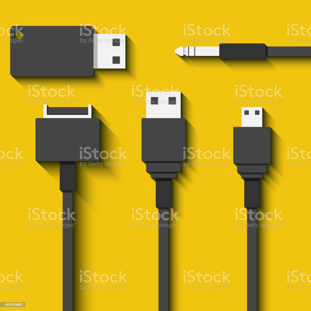 Set Usb cables and flash cards in flat style vector art illustration