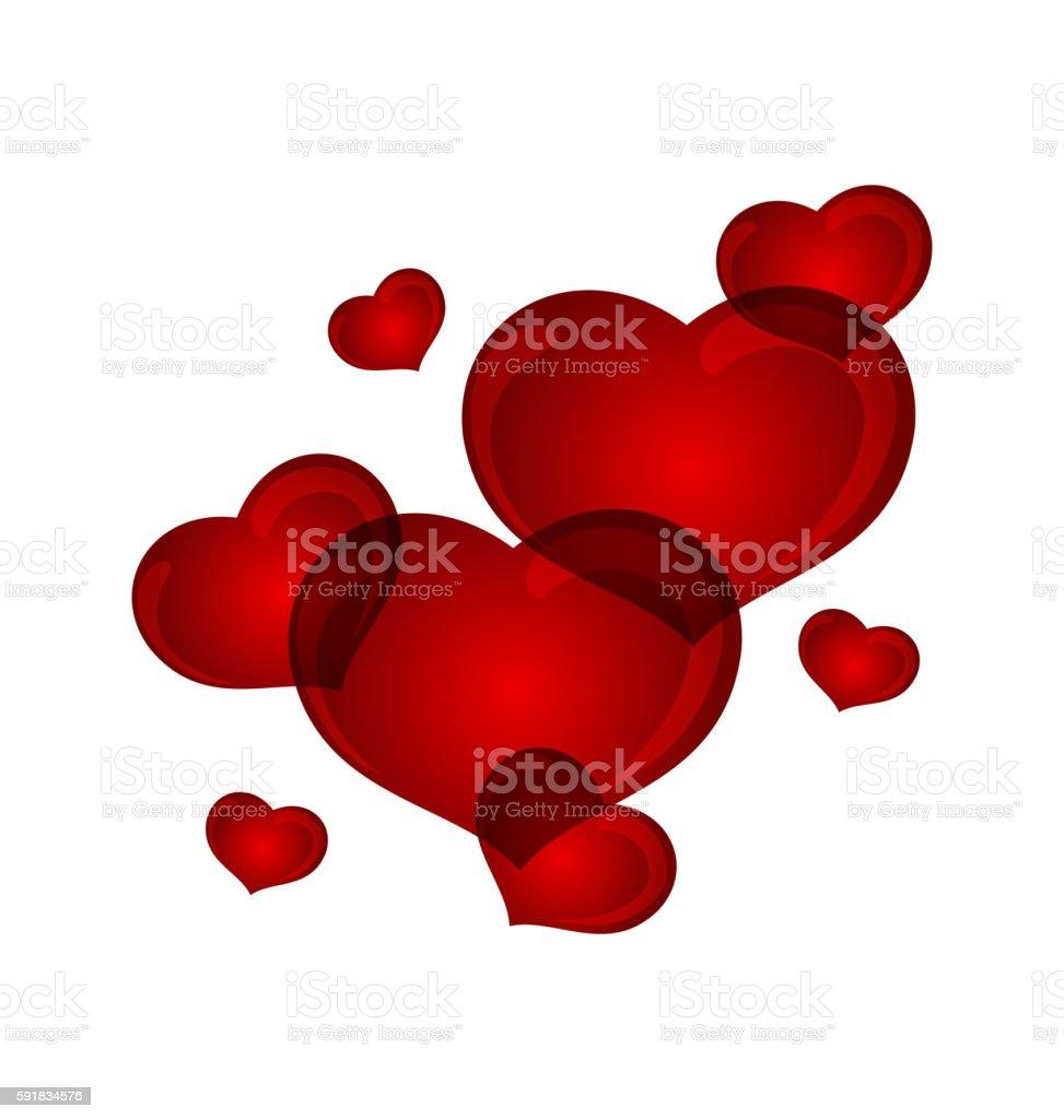 set valentine hearts isolated vector art illustration