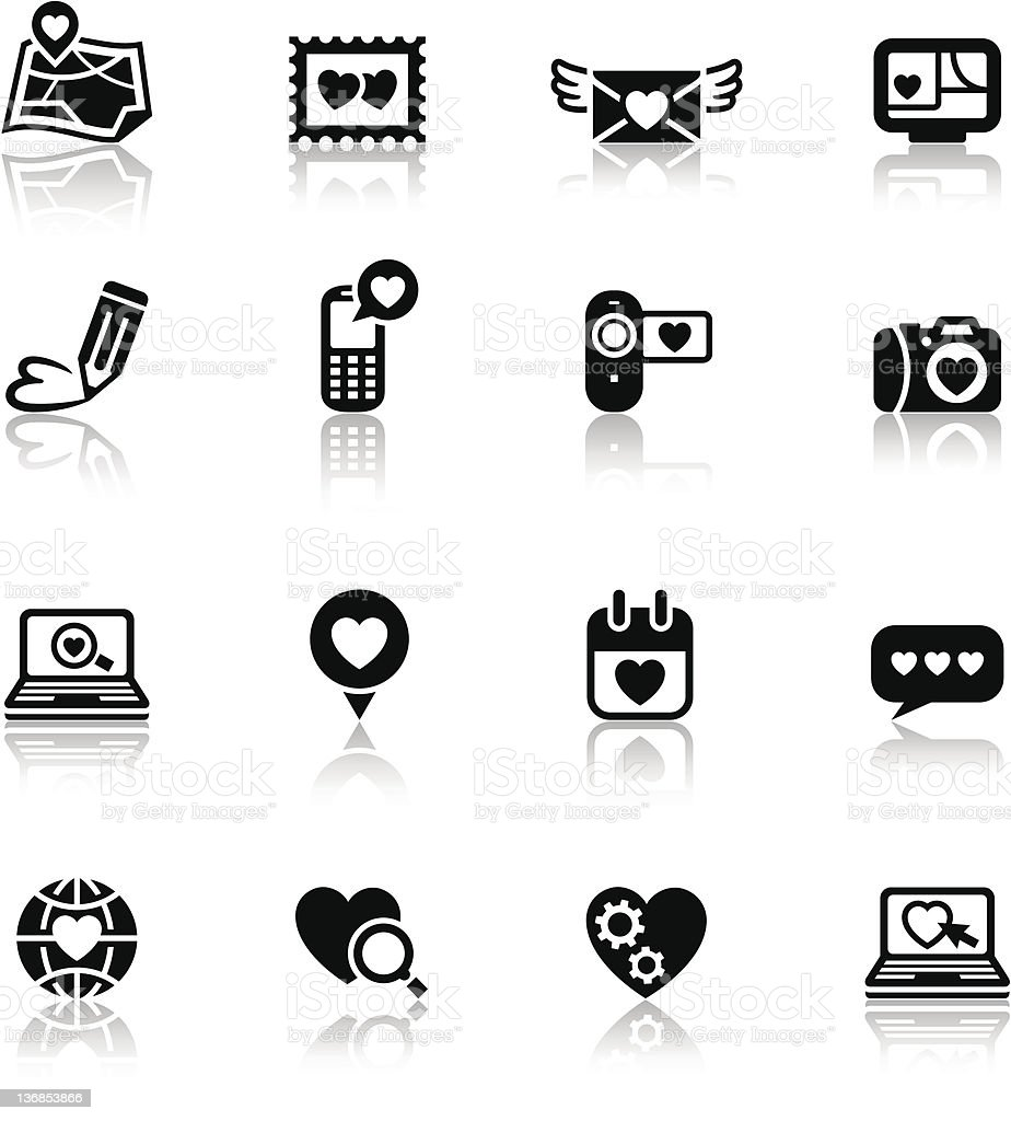 Set valentine's day icons, love on the Internet signs royalty-free stock vector art