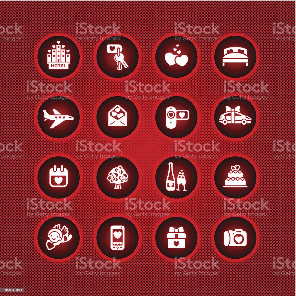 Набор иконок на День святого Валентина, романтическое путешествие векторная иллюстрация