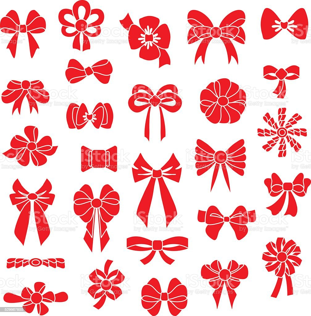 Set vector bows of different shapes red color. vector art illustration
