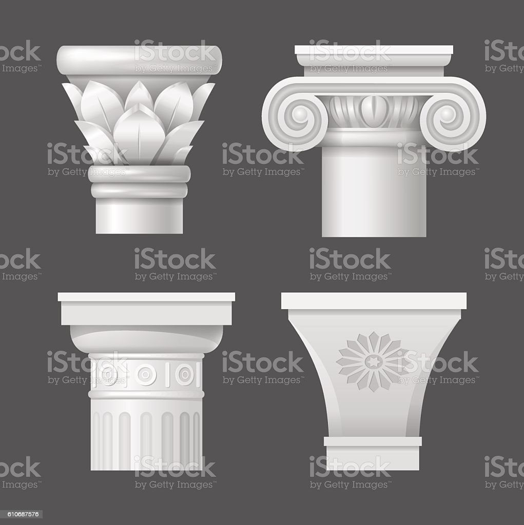 Set vector capitals vector art illustration