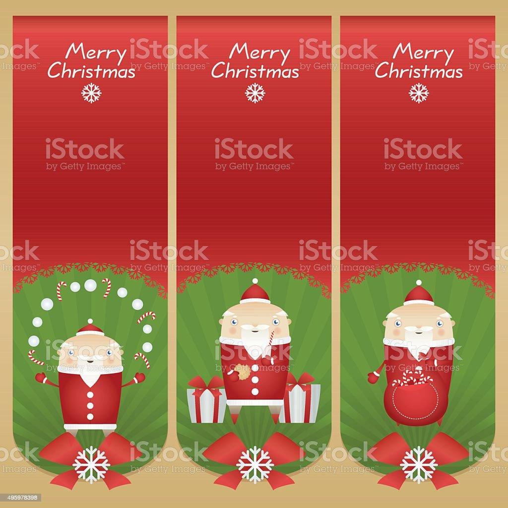 Set vector cartoon banners with Santa Claus around Christmas accesories vector art illustration