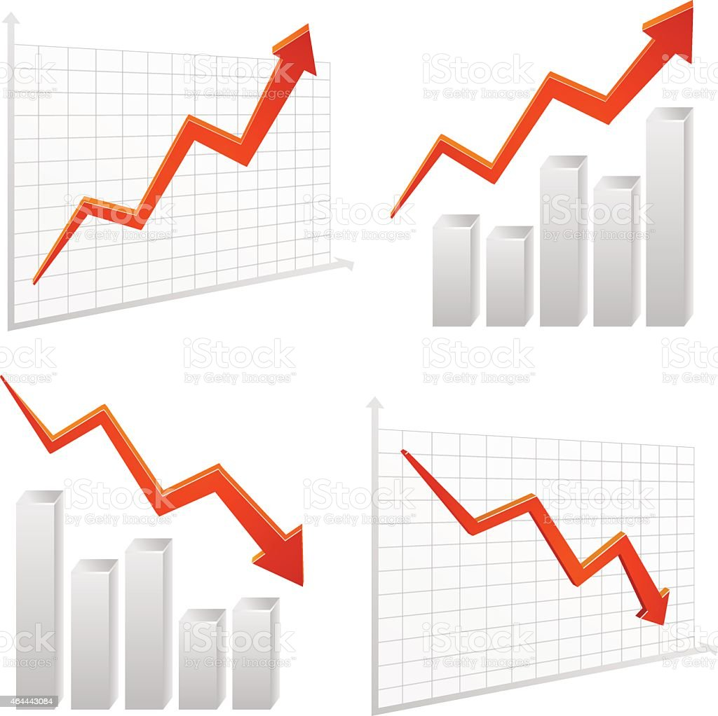 set vector chart graph positive, negative infographic vector art illustration