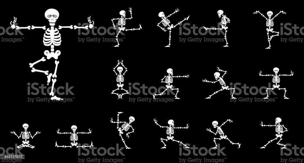 Set vector design elements: funny skeletons - kung fu vector art illustration