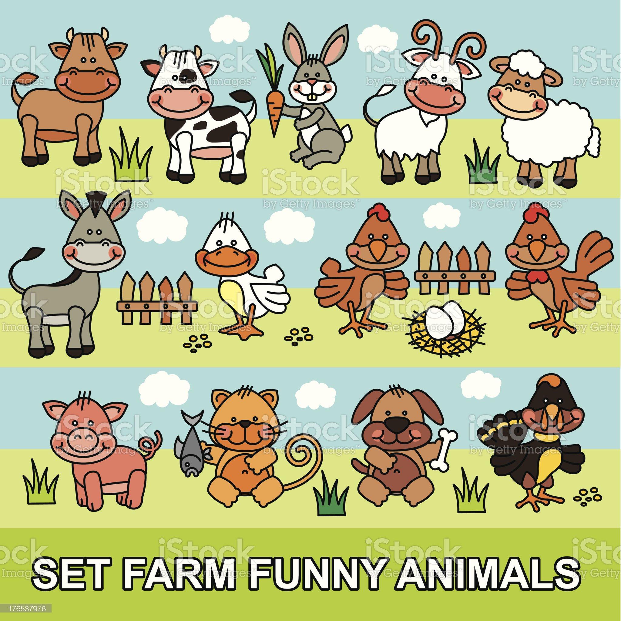 set vector funny cartoon farm animals royalty-free stock vector art