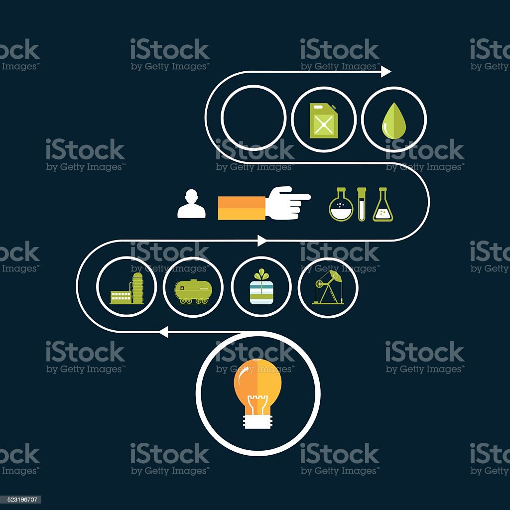 Set vector icons of fuel and petroleum industries vector art illustration