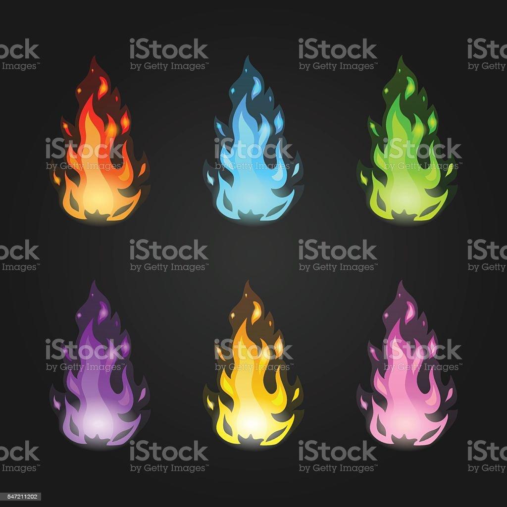 Set vector magic fire in different colors vector art illustration