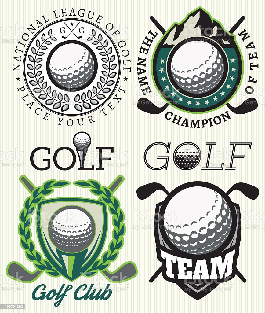 set vector patterns badges with attributes for golf vector art illustration