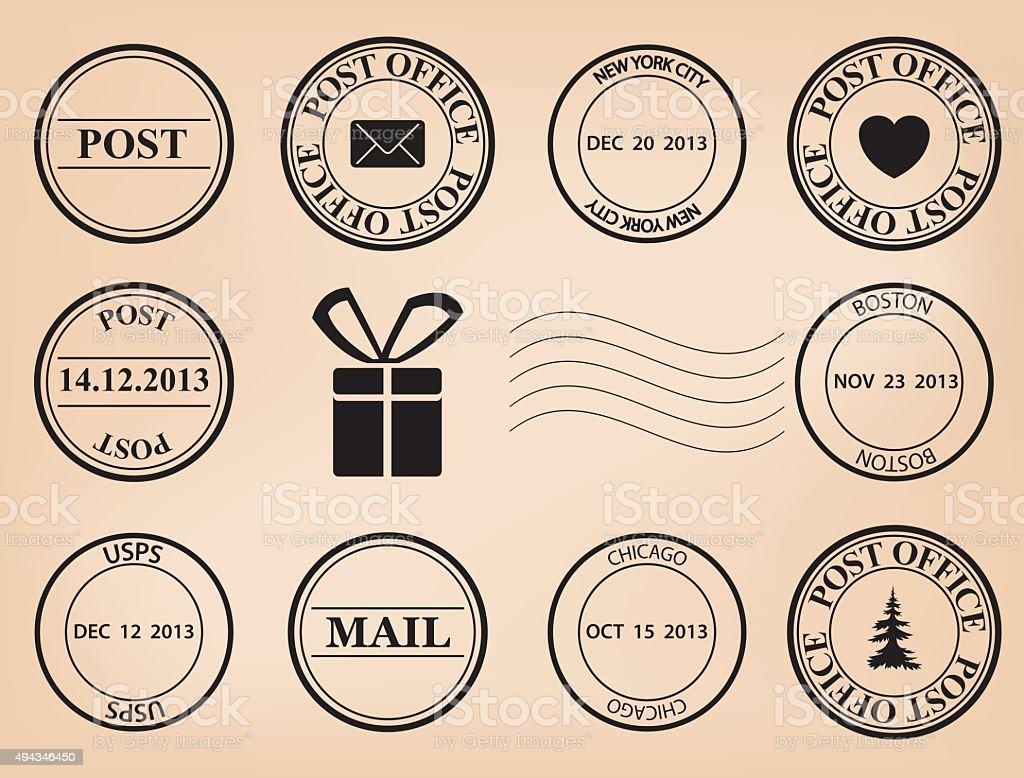 set - vector post stamps vector art illustration