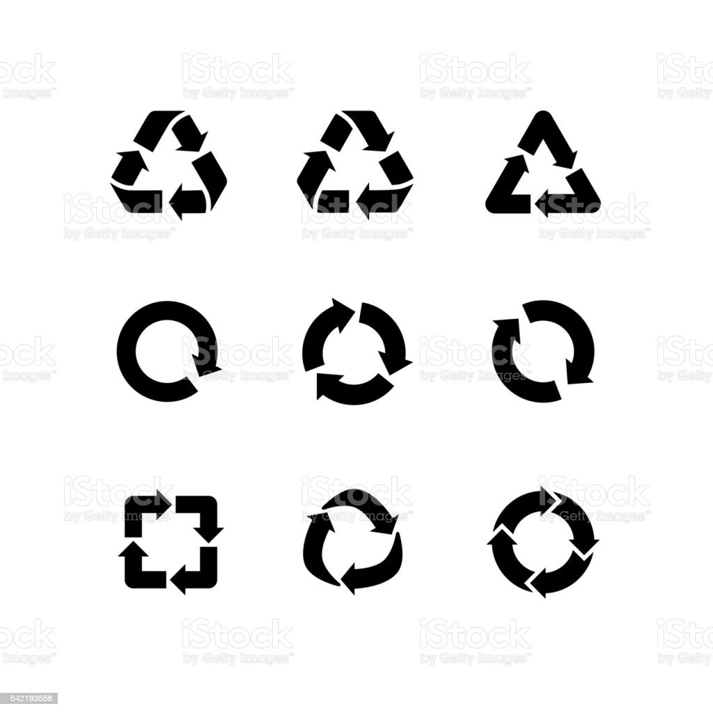 Set vector signs of recycling, arrow icons isolated on white vector art illustration
