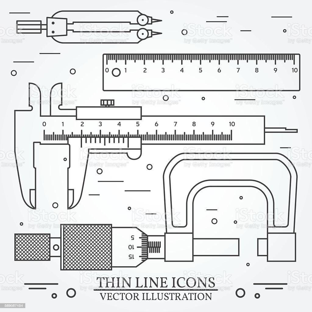 Set vector thin line icons caliper, ruler, pair of compass vector art illustration
