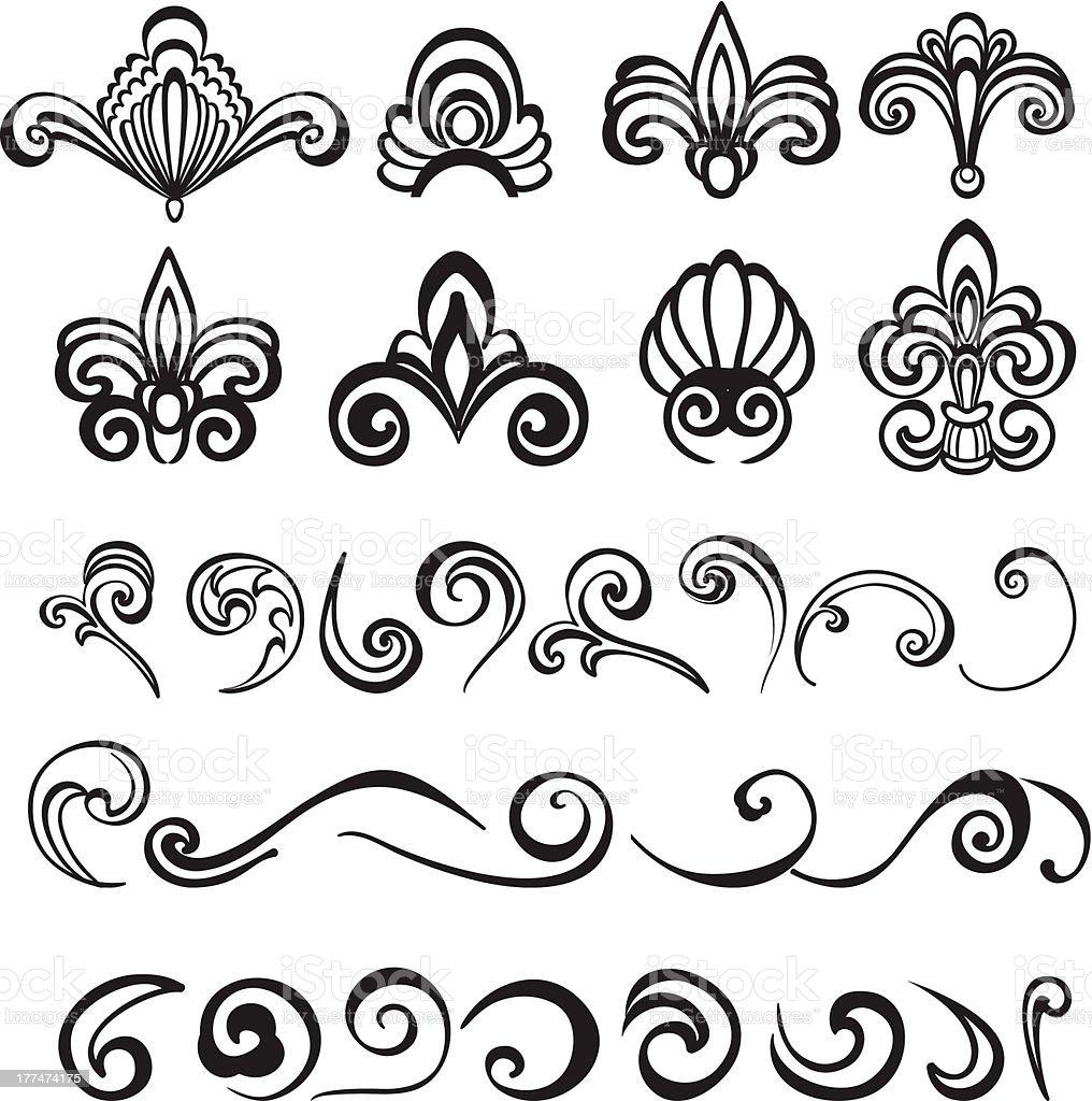 Set vintage floral elements for your design royalty-free stock vector art