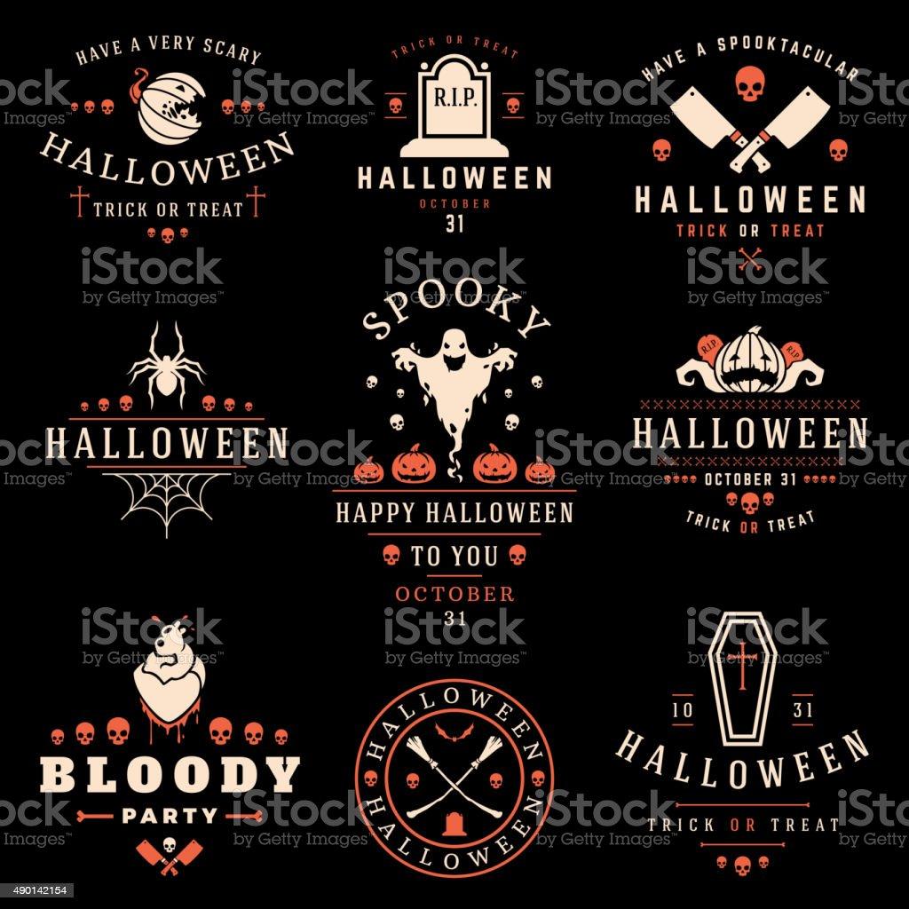 Set Vintage Happy Halloween Badges and Labels vector art illustration