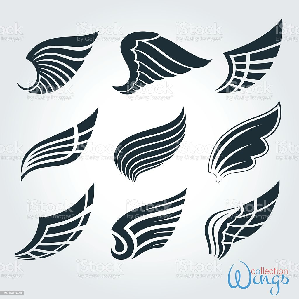 Set vintage wings for design projects. vector art illustration
