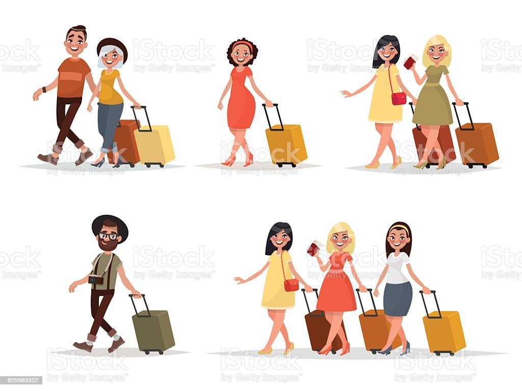 Set walking airplane passengers. Man, woman, friends vector art illustration