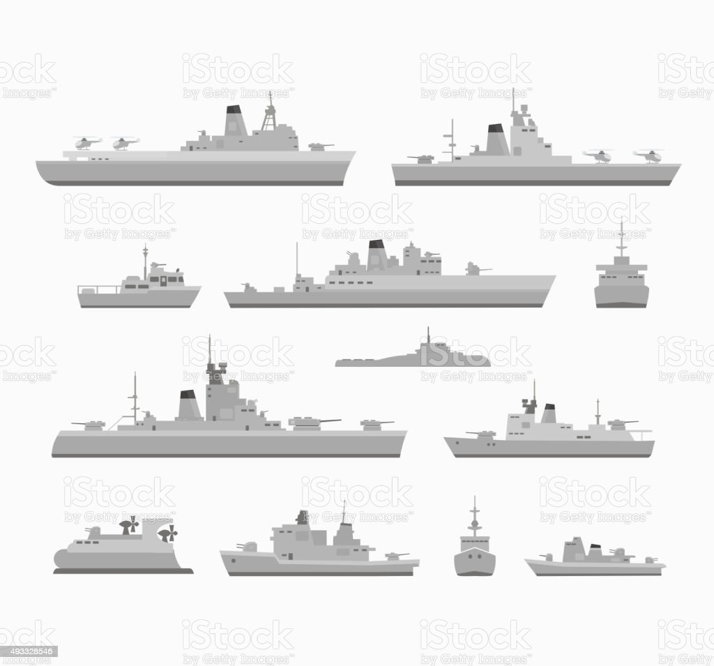 Set warships vector art illustration