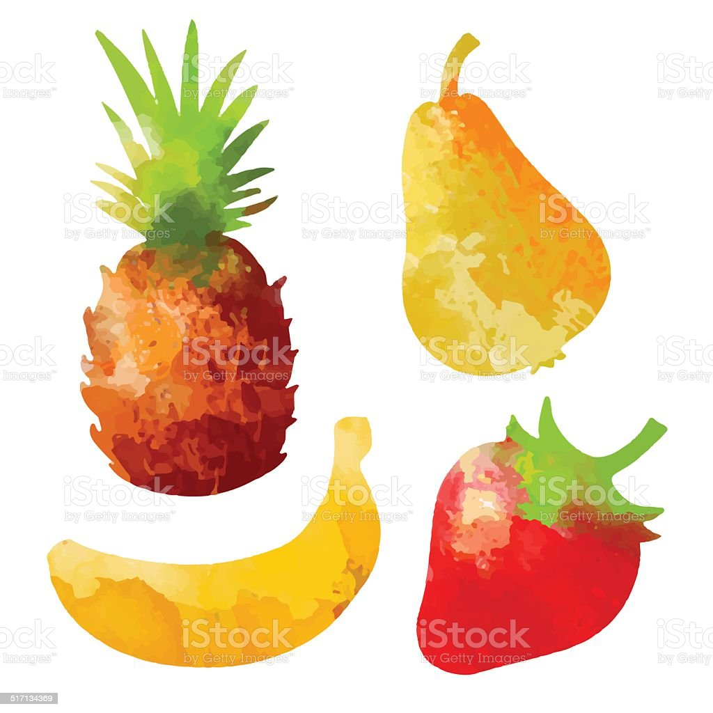 Set watercolor fruits and berries isolated vector art illustration