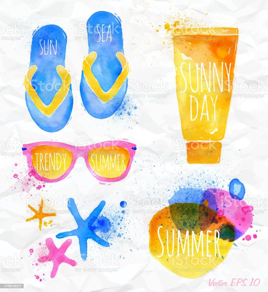 Set Watercolor yellow beach icons. vector art illustration