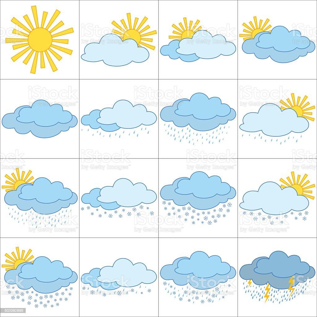 Set of weather icons, illustrating the various natural phenomena....
