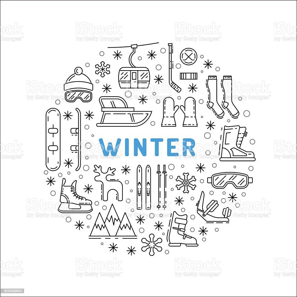 set winter icon vector art illustration