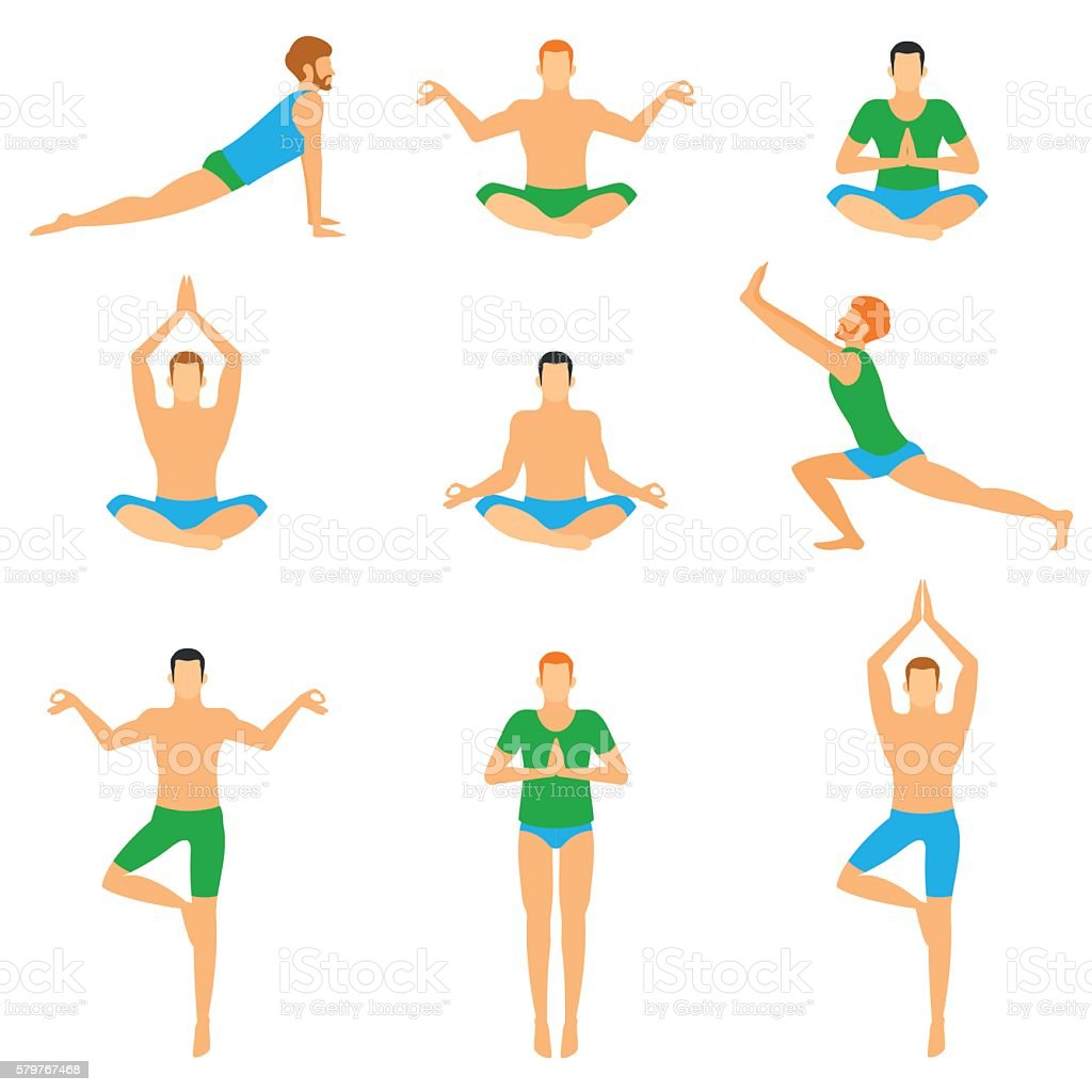 Set with a handsome man in various poses of yoga. vector art illustration