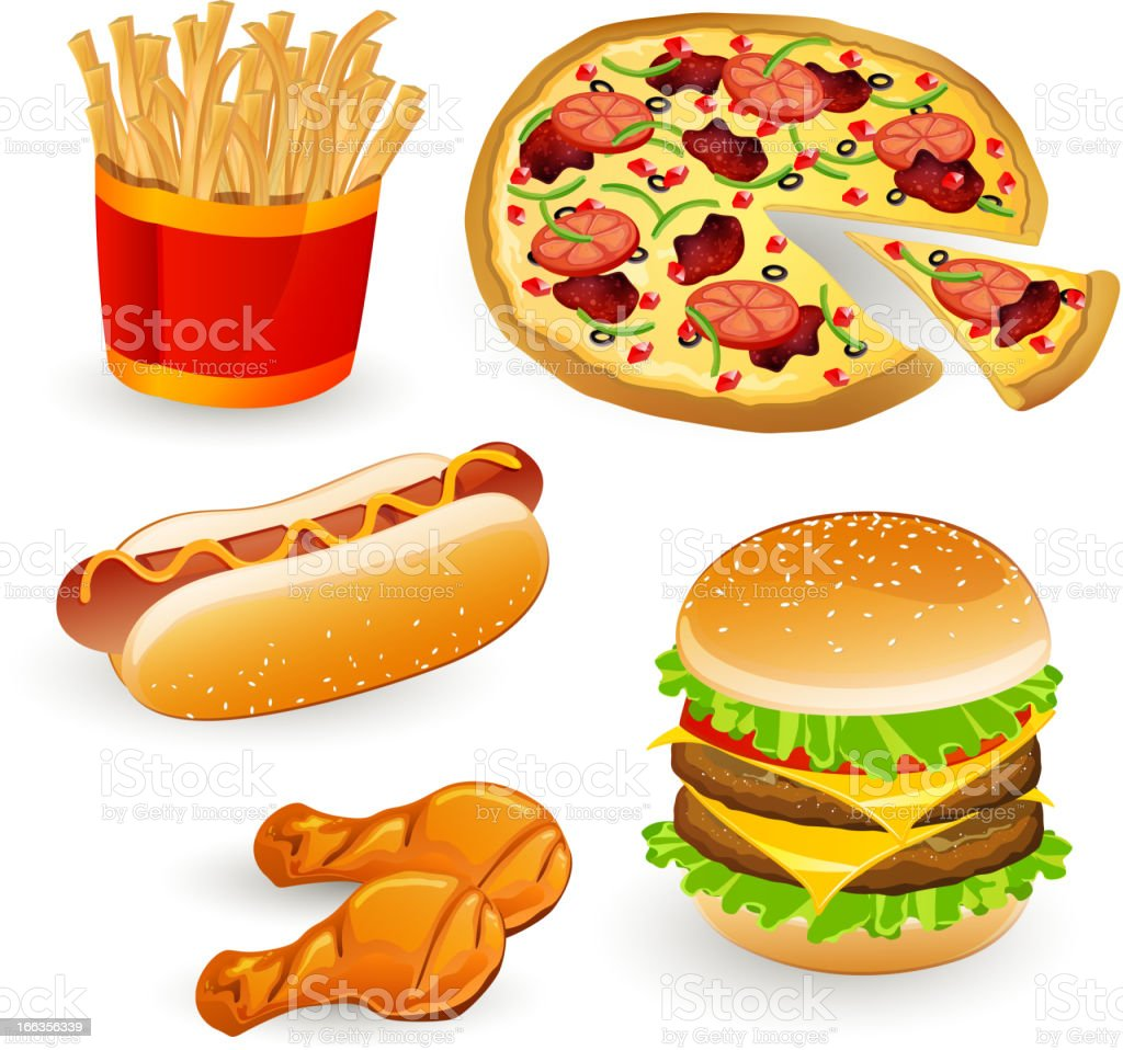 Set with Colorful Vector Fast Food Icons royalty-free stock vector art