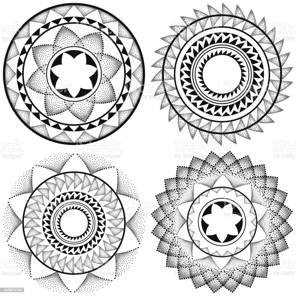 Set with dotted round mandala in black isolated on white. vector art illustration