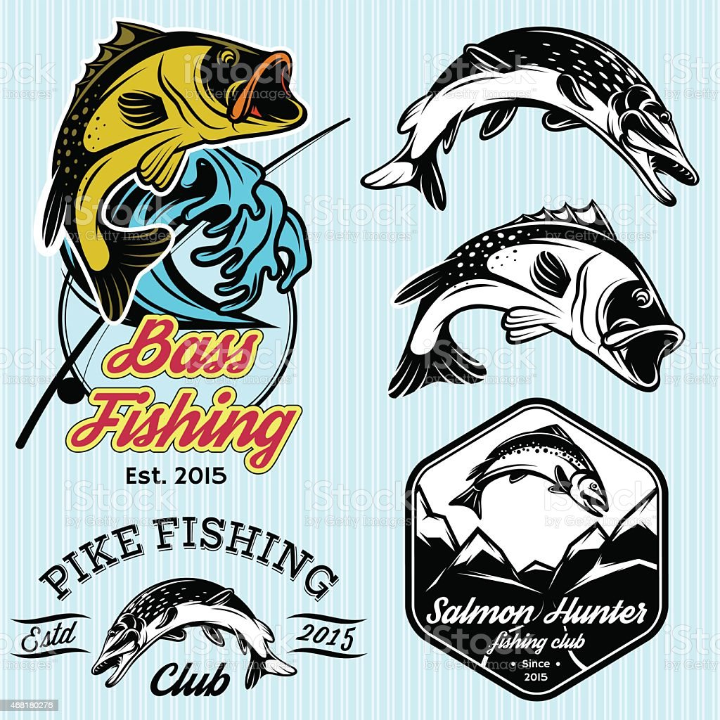 set with emblems for fishing with pike, salmon, bass vector art illustration