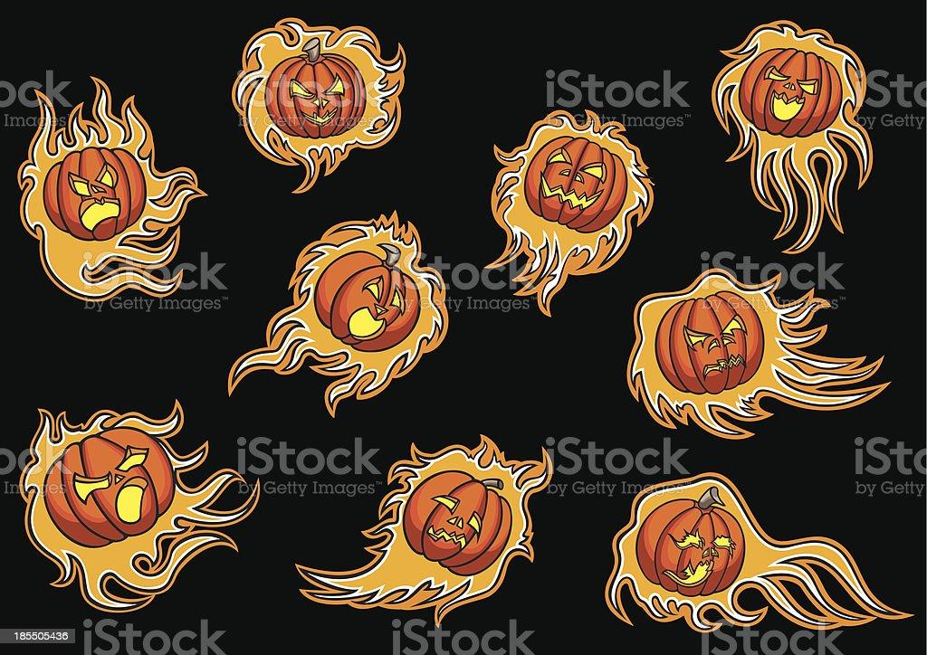Set with emblems of infernal pumpkins royalty-free stock vector art