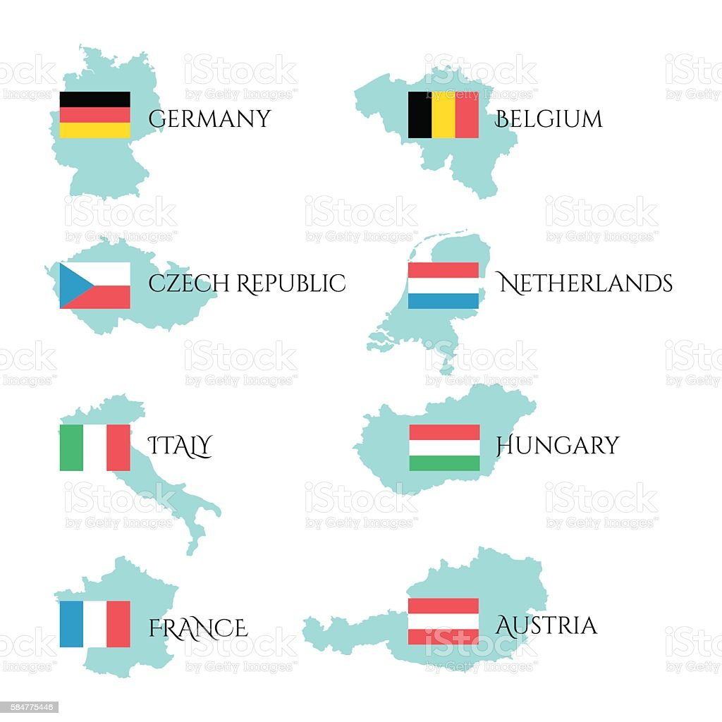Set with european flags and border of their country vector art illustration