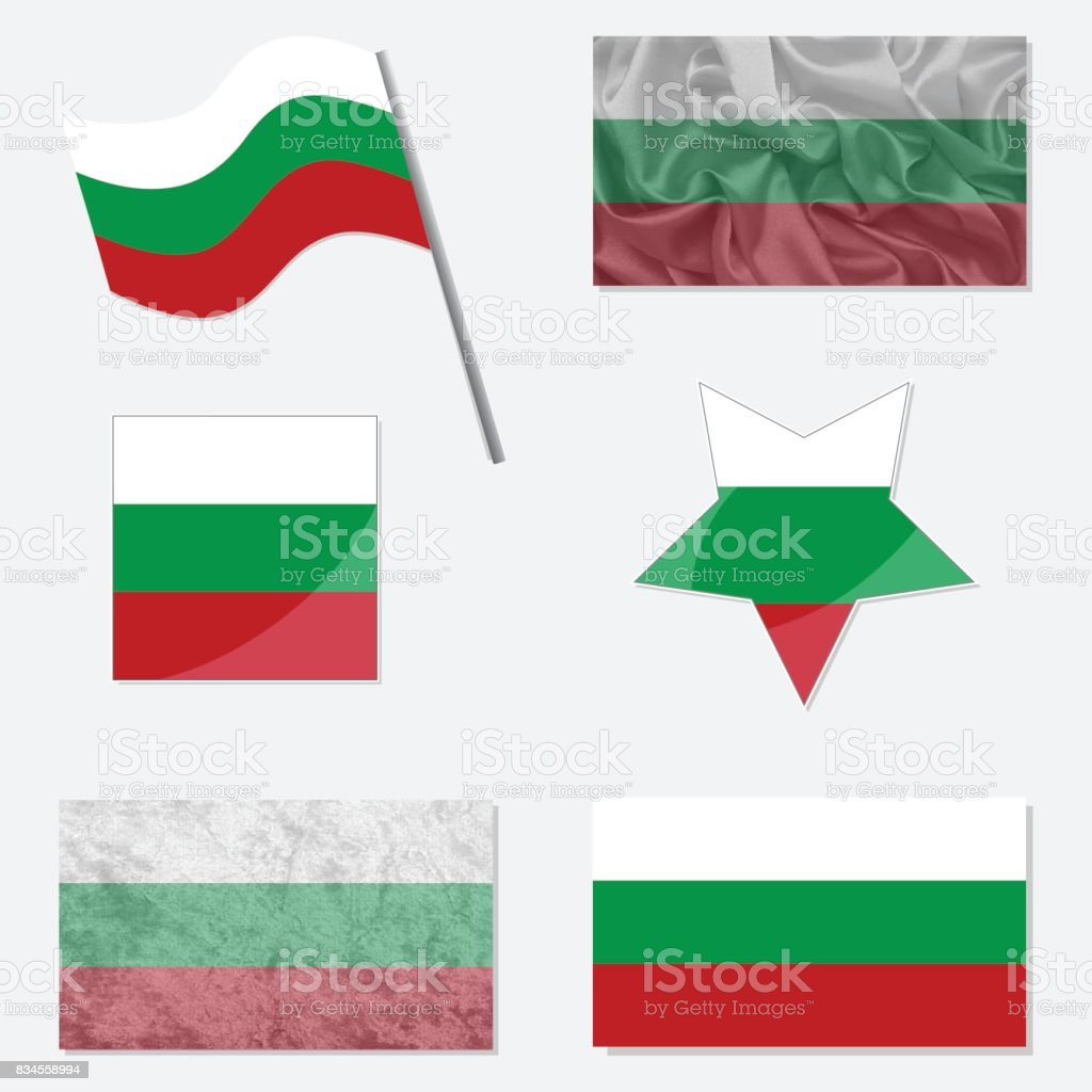 Set with Flags of Bulgarian vector art illustration