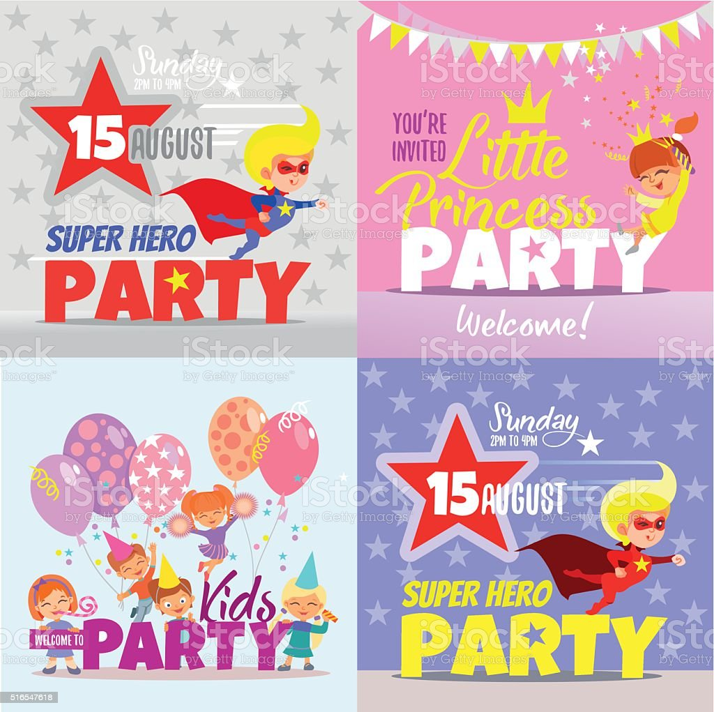 Set with kids party invitation design concepts. vector art illustration