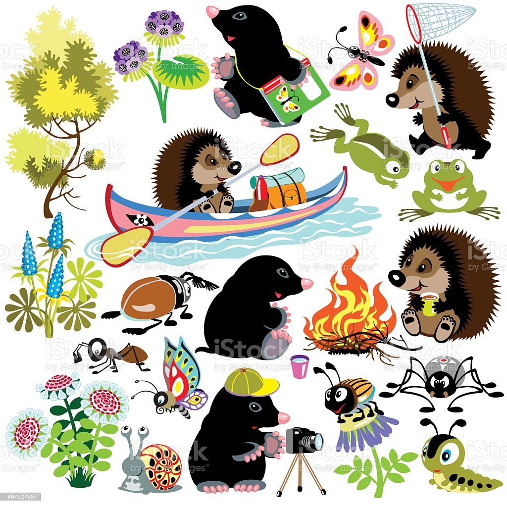 set with mole and hedgehog in camping vector art illustration