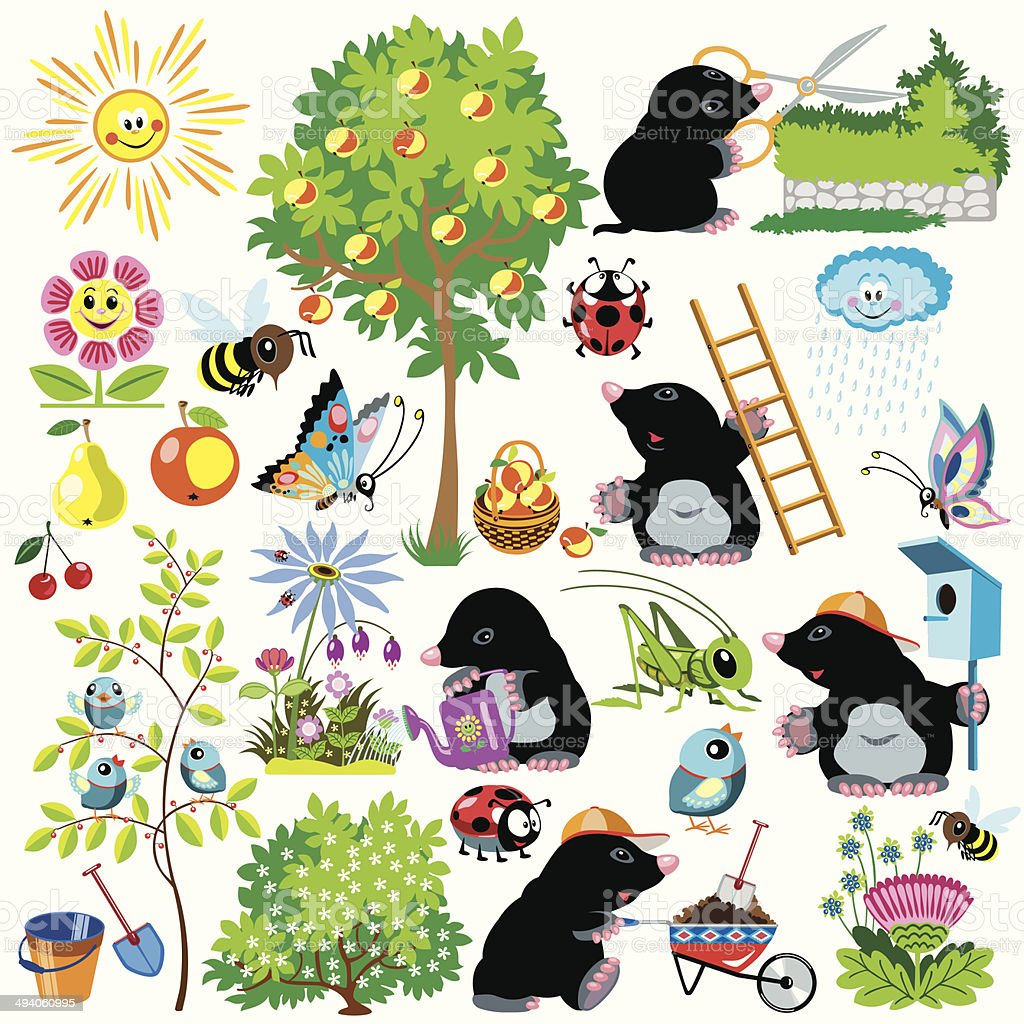 set with mole  gardener vector art illustration