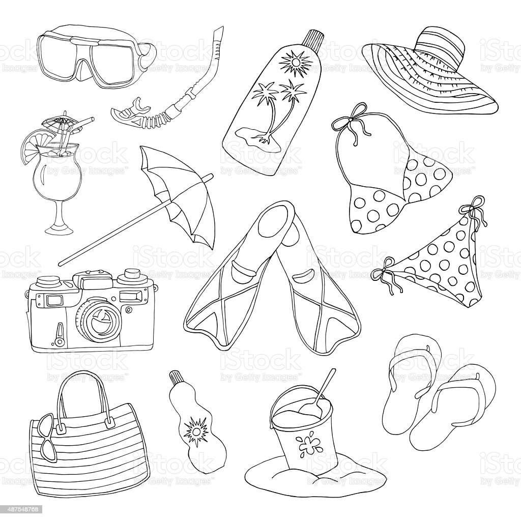 Set with objects for beach holidays vector art illustration