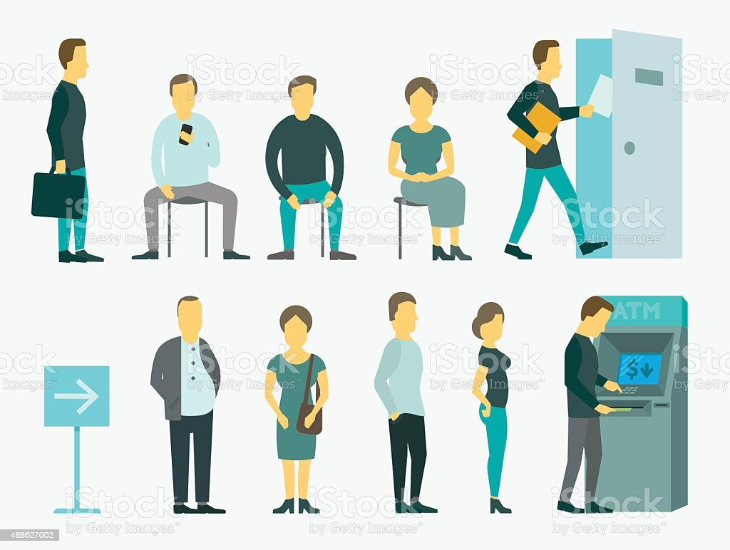 Set with people queue the ATM vector illustration vector art illustration