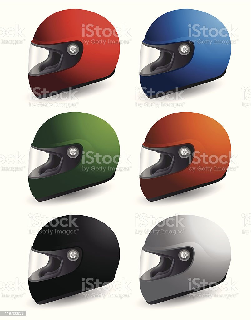 Set with racing helmets royalty-free stock vector art