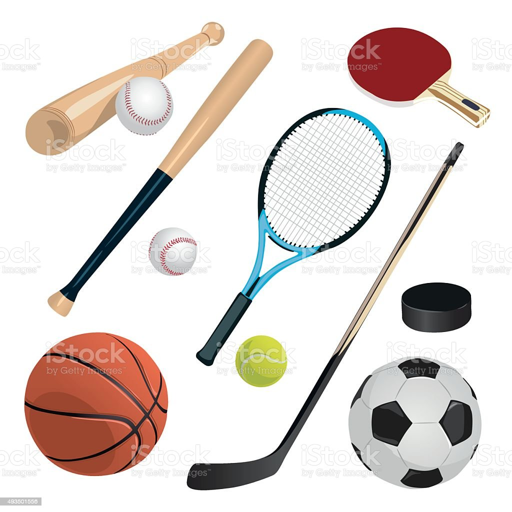 set with sports equipment vector art illustration