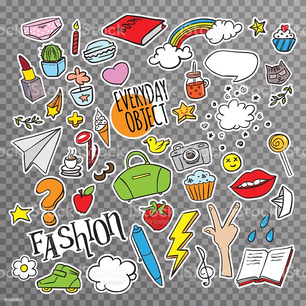 Set with stickers with everyday objects vector art illustration