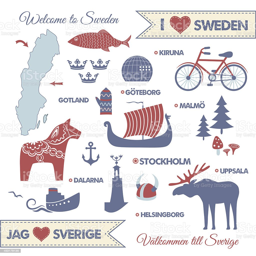 Set with symbols and map of Sweden vector art illustration