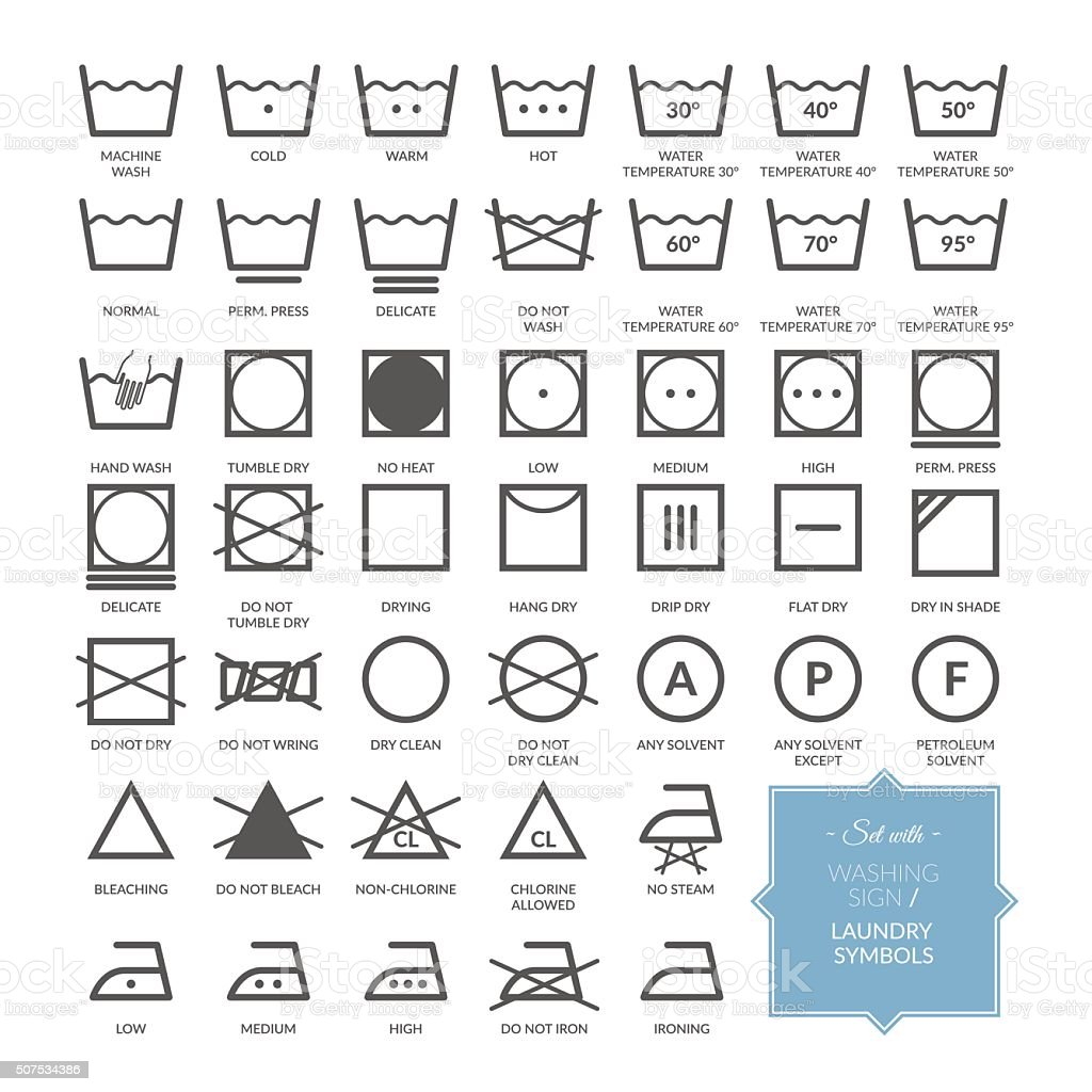 Set with thin line washing icons and laundry symbols vector art illustration