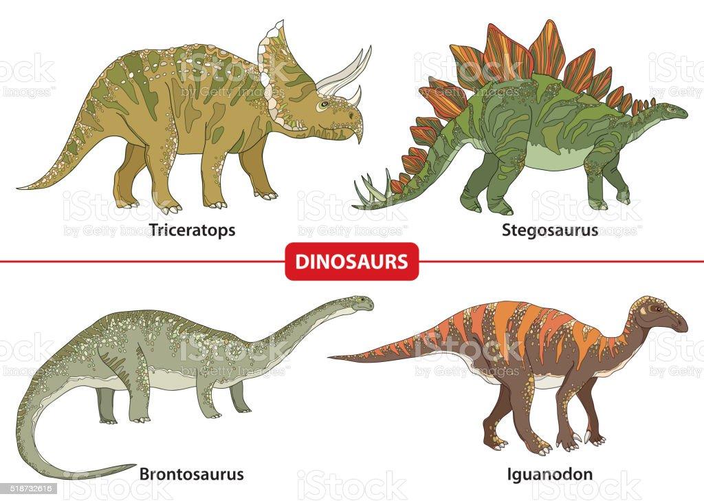 Set with Triceratops, Stegosaurus, Brontosaurus and Iguanodon isolated on white. vector art illustration