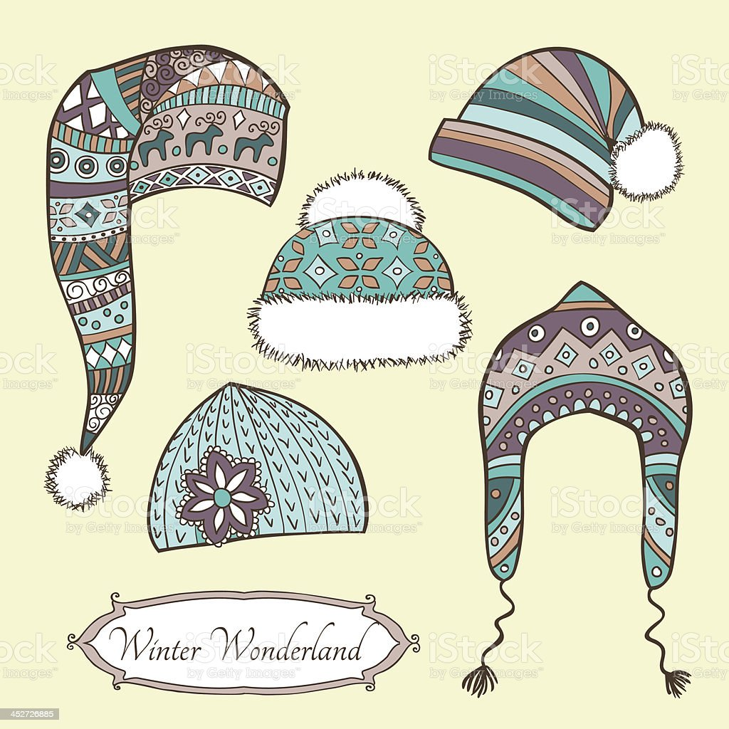Set with vintage winter caps royalty-free stock vector art