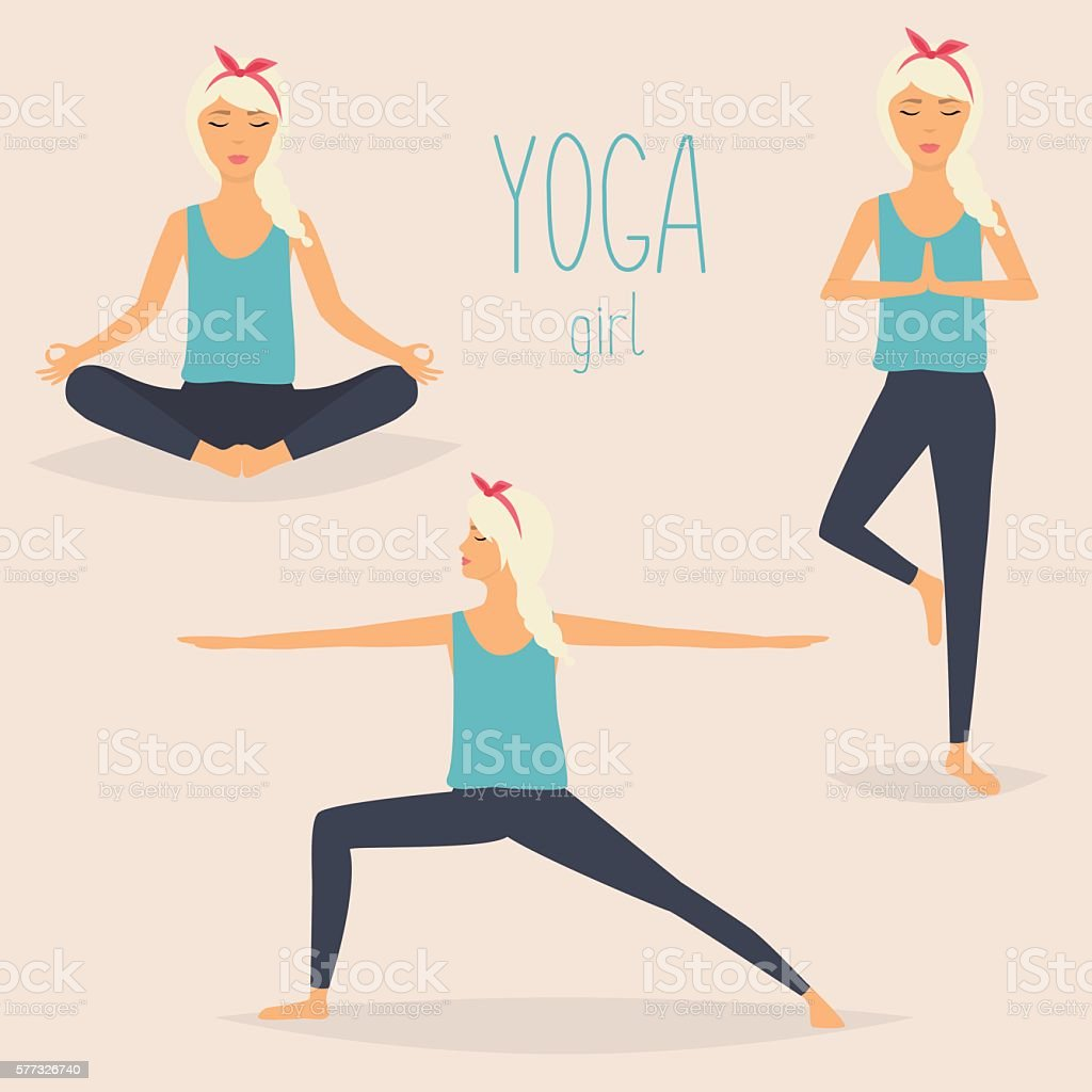 Set with woman in various poses of yoga. Healthy lifestyle. vector art illustration