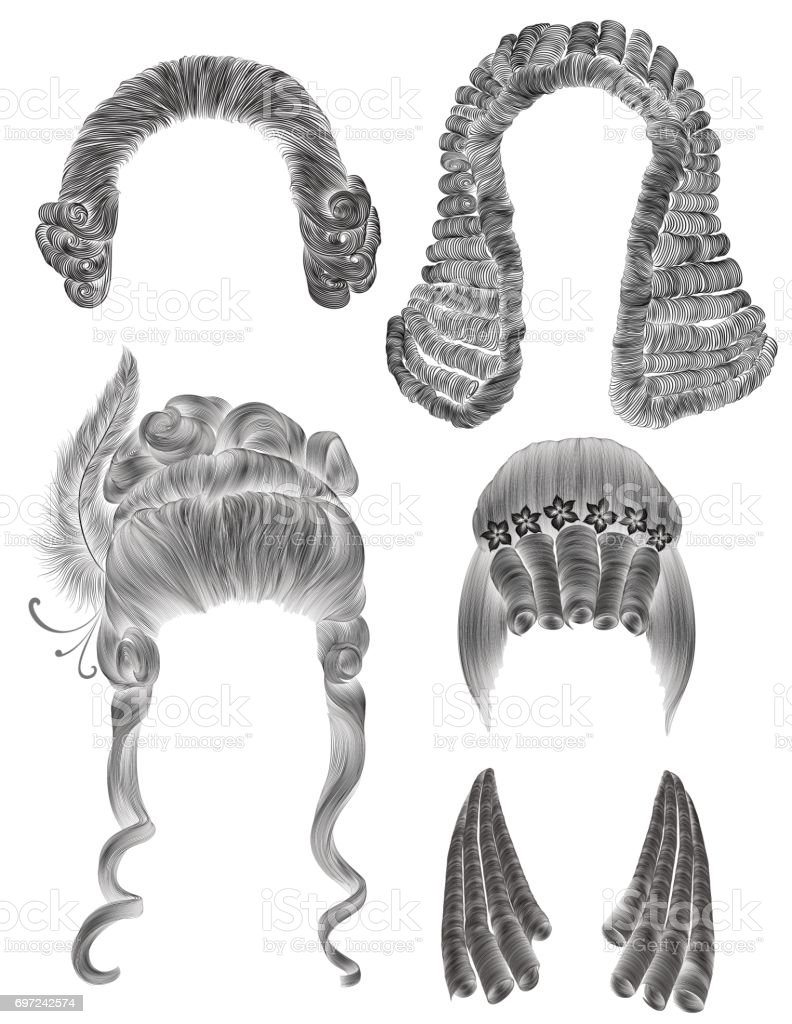 set woman and man hairs  . black  pencil drawing sketch .medieval style rococo baroque . wig   curls hairstyle vector art illustration