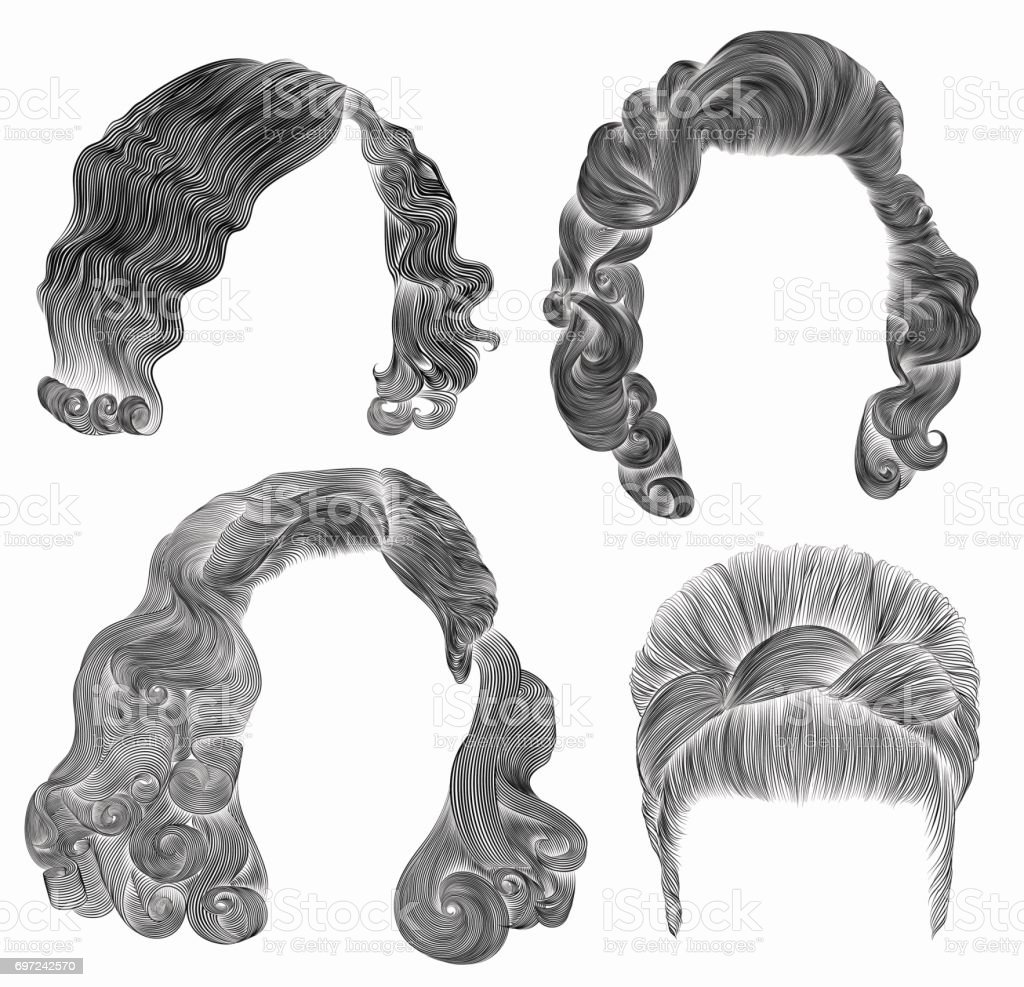 set woman  hairs  . black  pencil drawing sketch .retro  hairstyle.babette curly waves vector art illustration